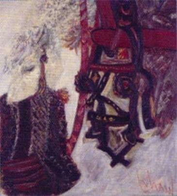 Orhan Peker: Atlar. Tuval üzerine yagliboya. 100×94 cm. Ozel koleksiyon