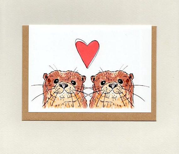 OTTER LOVE . greeting card . wedding engagement valentines