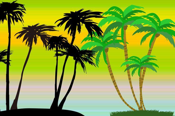 ハワイっぽいヤシの木だけを集めたフリーで使えるイラスト。シルエットや無人島っぽいヤシの木も。