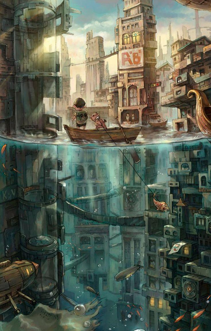 Isso poderia gerar um cenário de RPG interessante. Um mundo submerso em que as pessoas vivam tanto em baixo quanto acima d'água na mesma cidade.