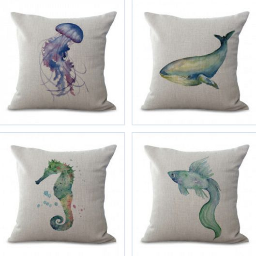 Assorted Watercolor Nautical Pillow Cases with Sea Animals