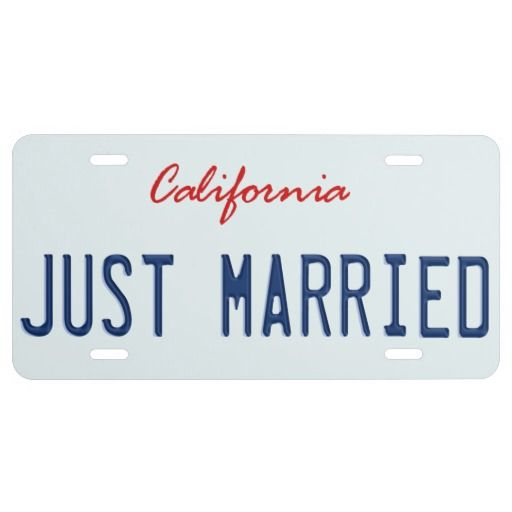 Just Married California License Plate