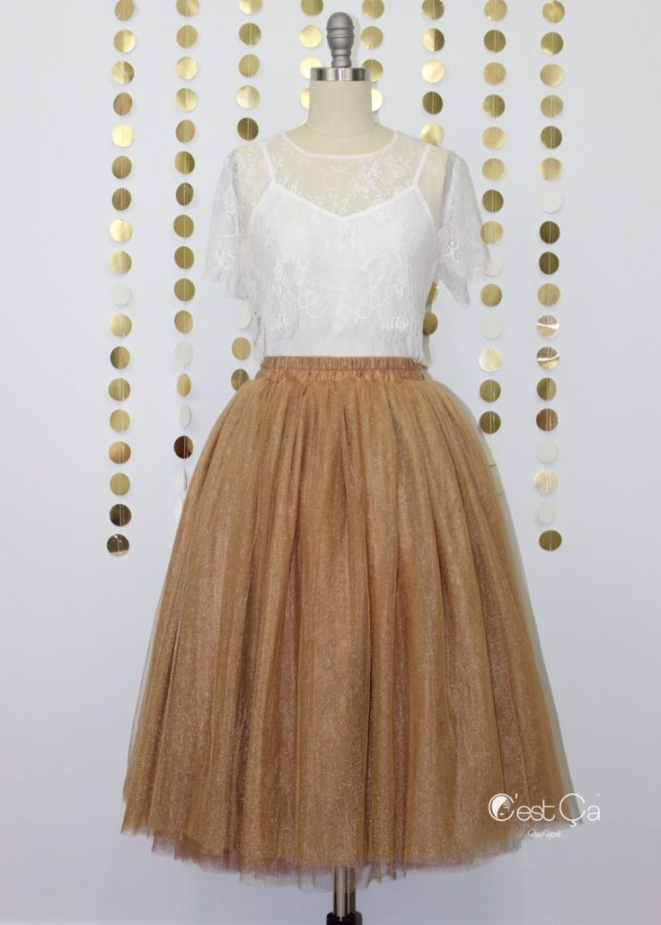 Diane Metallic Shimmery Antique Gold Bronze Tulle Skirt - Tea Length (1)