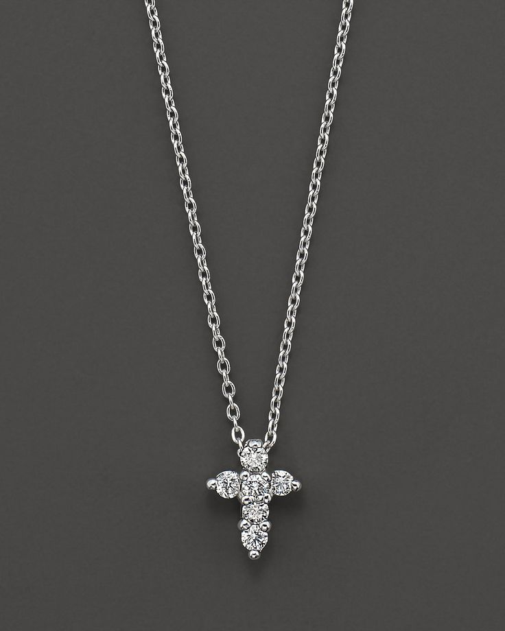 "Roberto Coin ""Tiny Treasures"" White Gold/Diamond Small Cross...holy moley yes please!"