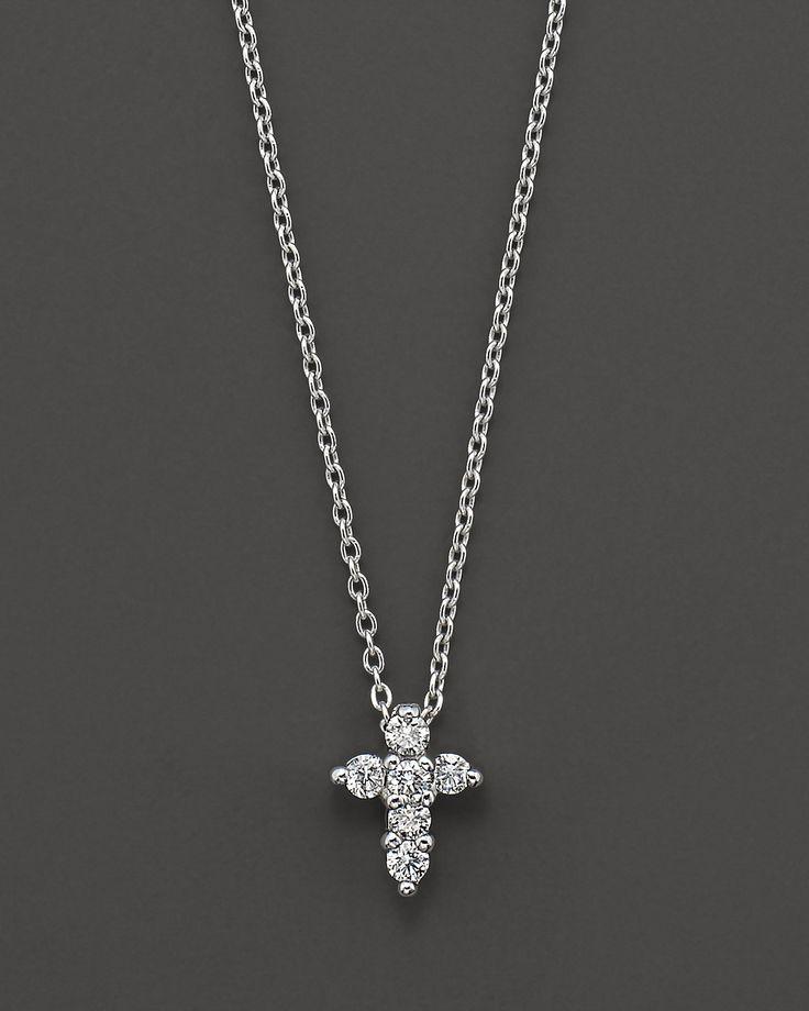 """Roberto Coin """"Tiny Treasures"""" White Gold/Diamond Small Cross...holy moley yes please!"""