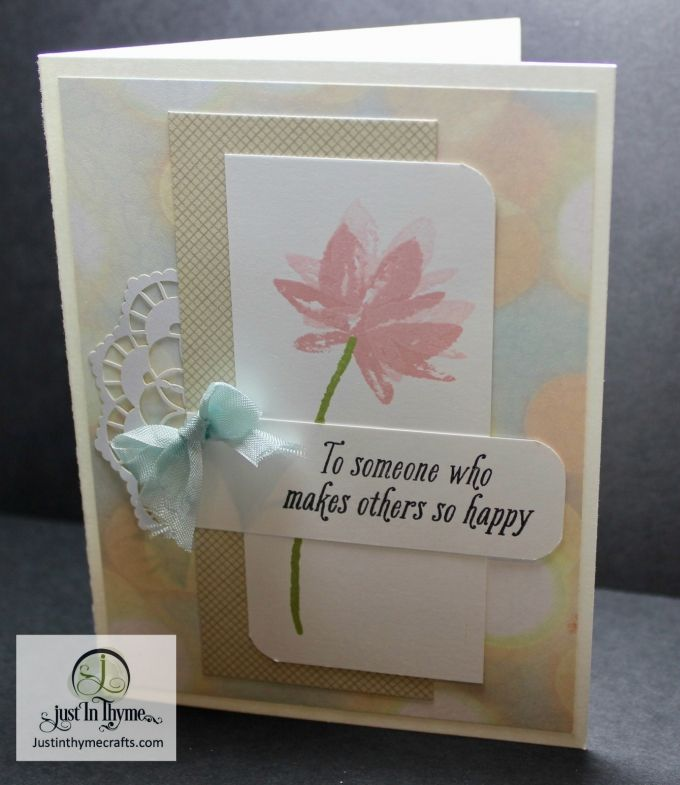 "There is still time to get this beautiful Photopolymer stamp set for free.  Spend $50 in Stampin' Up! products and it's yours or you have a selection of many other free items!  Just click on the ""Shop Online"" tab and you will get to our Sale-A-Bration flyer. This card will be one of three offered …"