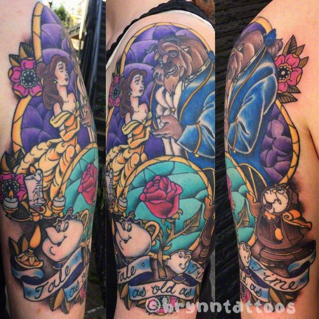 Beauty and the Beast half sleeve tattoo!  I'm always excited to tattoo Disney themes!    by Brynn Sladky Instagram: @brynntattoos