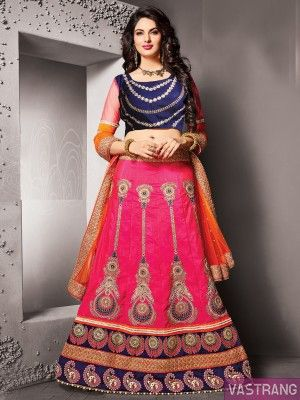 Pink Net Heavy Embroidery Lehenga with Embroidered Choli