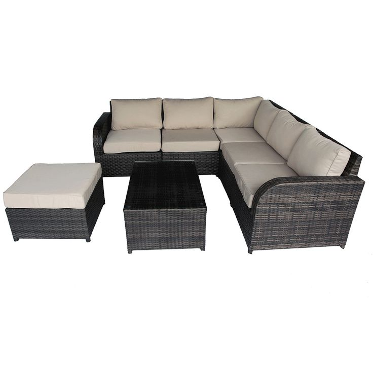 Buy Luxo Nevin 7 Piece Modular Wicker Outdoor Sofa Lounge Setting   Brown  Online Australia