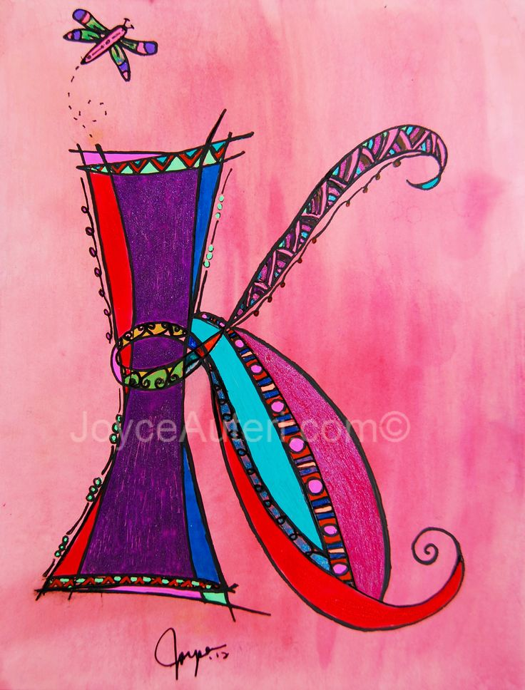 'K' 4x6 print on high quality paper, embellished with glitter, matted & framed to 5x7, ready to hang or display on shelf: $35