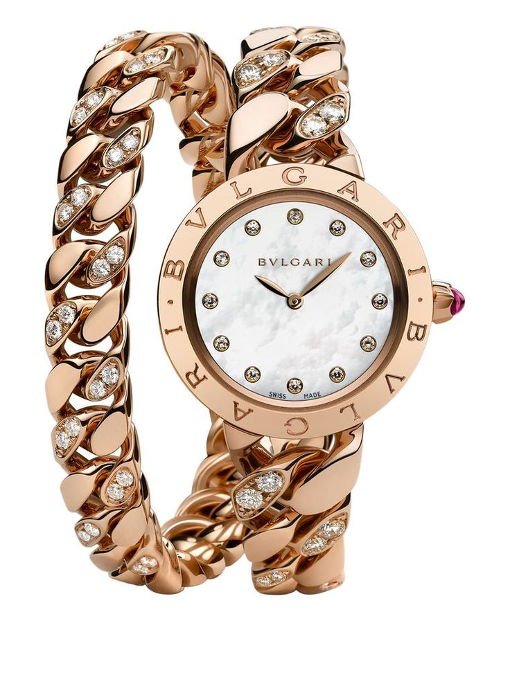Bvlgari Catene watch in pink gold and diamonds. Inspired by a historic 'gourmette' - the French name for a name-plate bracelet - the Bulgari Bulgari Catene watch is an elegant timepiece that recalls the vintage style of screen sirens such as Elizabeth Taylor and Grace Kelly. The supple chain-link bracelet wraps twice around the wrist. Discover more: http://www.thejewelleryeditor.com/window-shopping/watches-for-her/bulgari-bulgari-catene-watch-in-gold-and-diamonds/