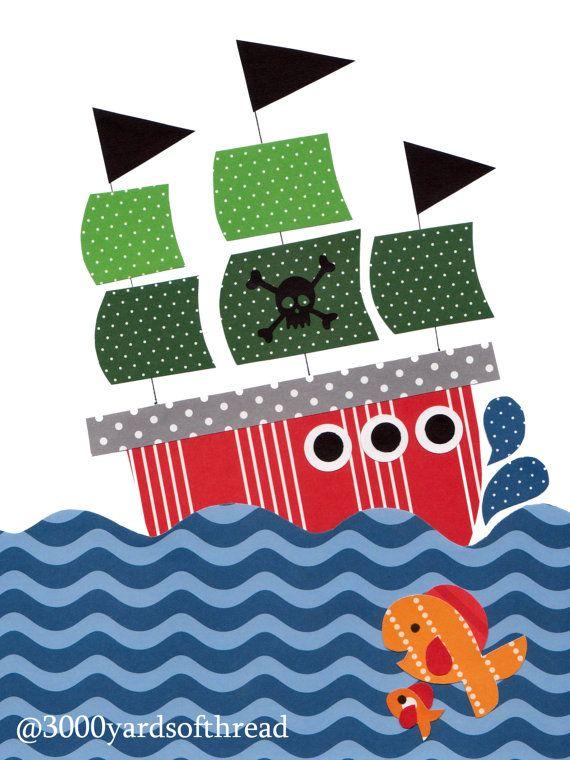 Nautical Pirate Nursery art prints baby nursery decor kids wall art children little boys room little boy green orange nursery artwork