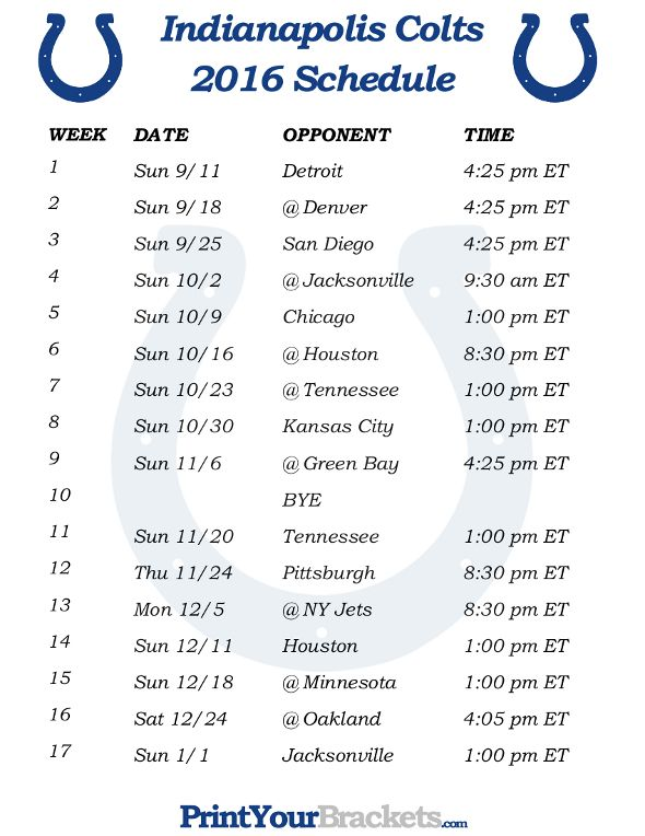 Printable Indianapolis Colts Schedule - 2016 Football Season