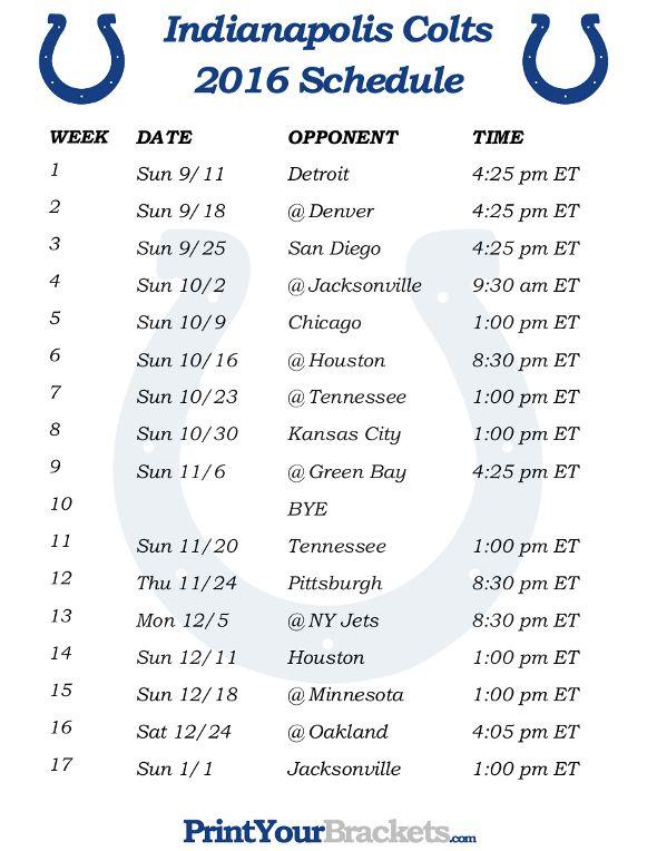 Printable Indianapolis Colts Schedule - 2016 Football Season