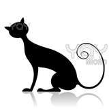 Illustration Of Black Cat Silhouette On Isolated Background