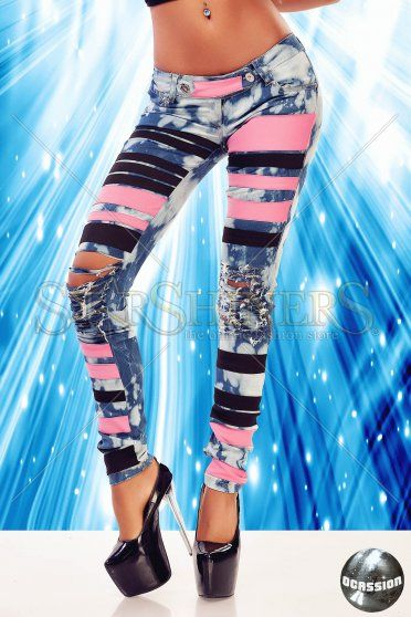 Jeans Ocassion Bold Strips Pink