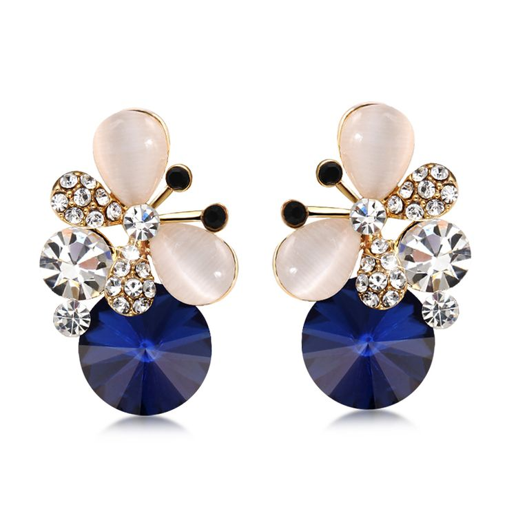 Find More Information about 2015 spring and summer all match austria crystal butterfly flower stud earring female,High Quality butterfly chandelier earrings,China butterfly yoyo Suppliers, Cheap butterfly earrings gold from Orange jewelry shopping on Aliexpress.com