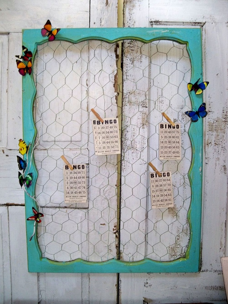 Large chicken wire message board recycled ornate wood for Recycled window frames
