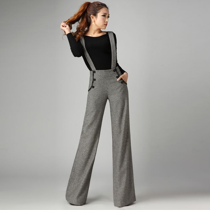 Autumn And Winter Woolen Wide Leg Pants , Female Casual Houndstooth Suspenders Long Trousers Ladies Jumpsuit(China (Mainland))