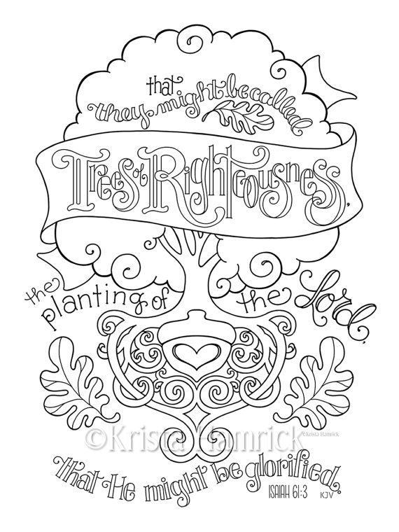 trees of righteousness coloring page 85x11 bible journaling tip in 6x8 - Watercolor Pages