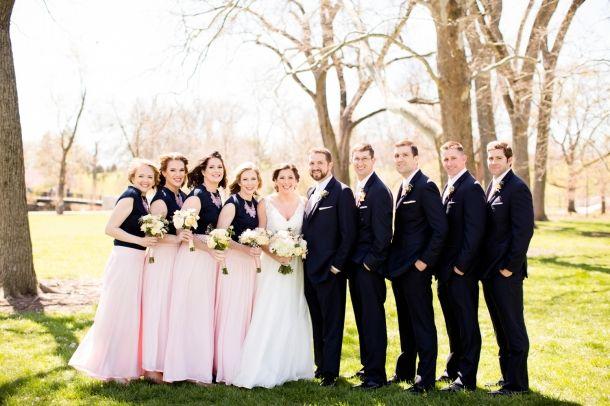 navy and blush pink bridesmaid dresses