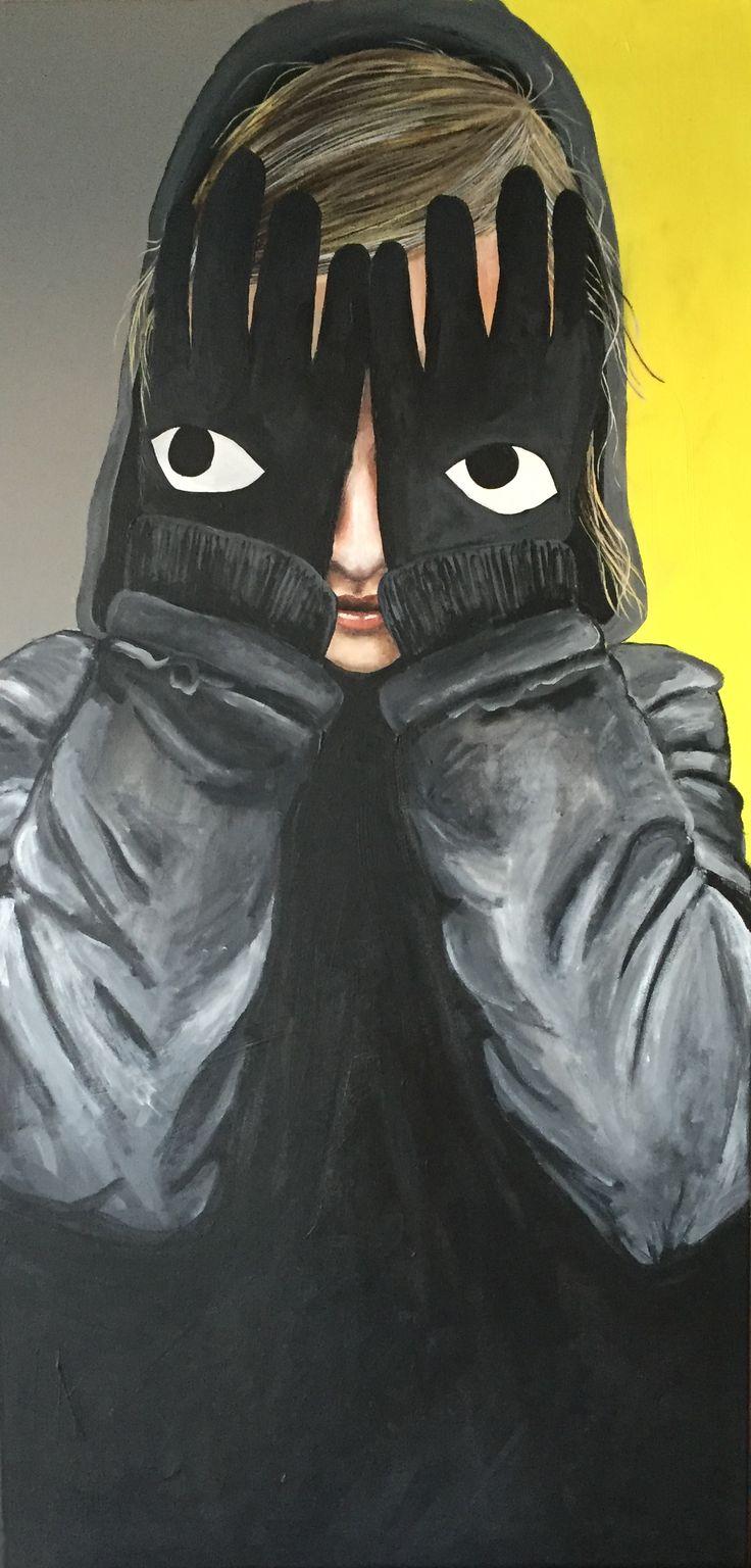 """""""I see you"""", 50x100cm, acryl on canvas, by Lisbeth Sahl"""