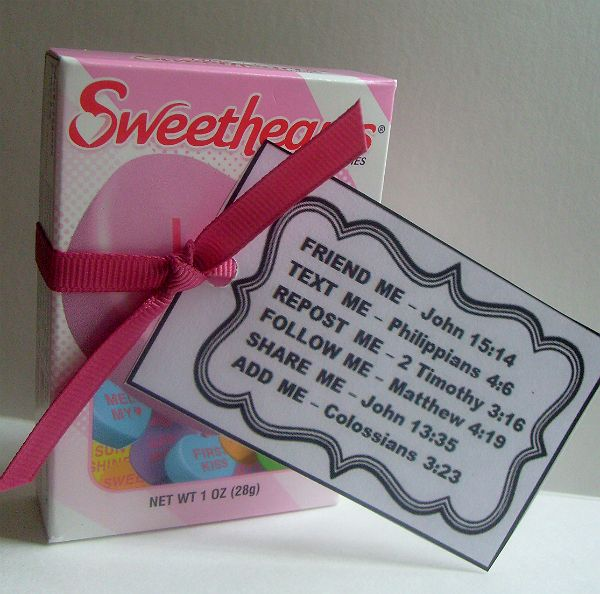 """Social Media Favor Idea using Conversation Hearts.  Goes with my """"It's All About Me"""" Devotional."""