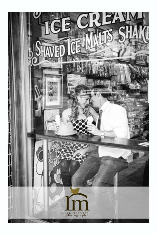 black and white photo, ice cream shop, Love the font on the window