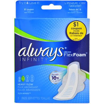 Soft Flex Foam™ material is absorbent and can absorb 10x its weight to provide clean dry protection. Plus, they are slightly larger to protect you on those heavy flow days. 3-ct. Pack of Always® Infin
