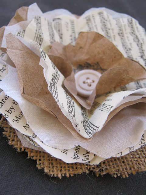 FLOWER PAPERS - cut the flower shape onto layers of hessian, linen, book paper, music tissue and brown wrapping paper...