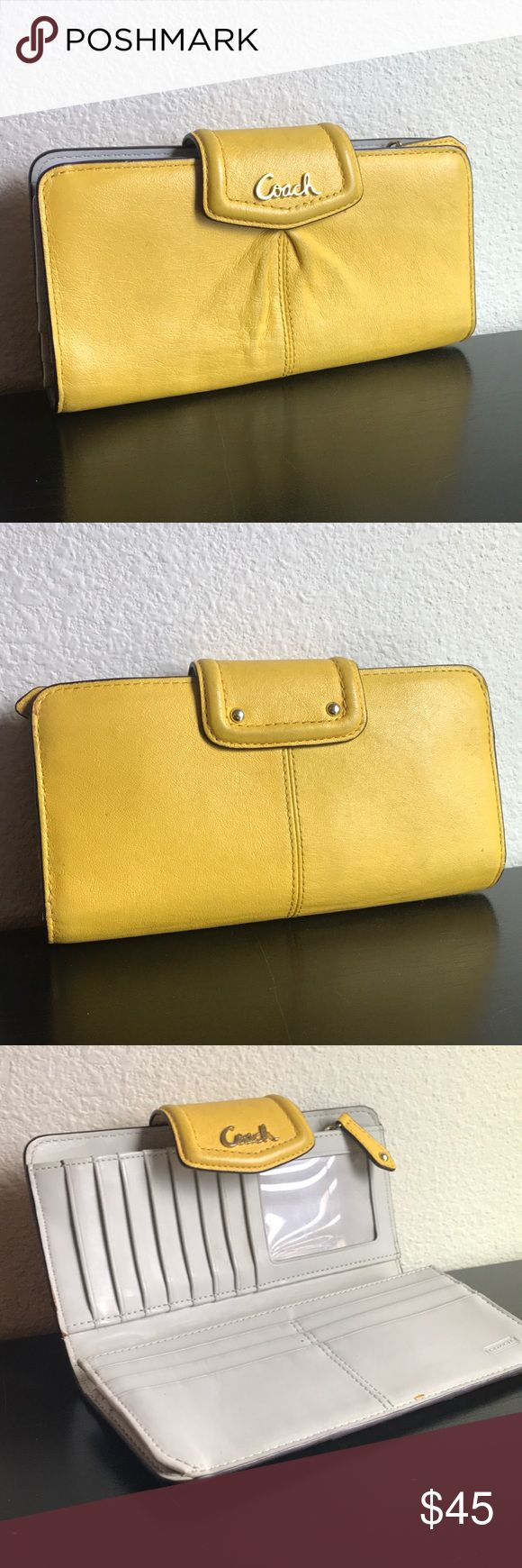 """Yellow coach wallet Coach skinny wallet with snap closure. 4 Full length bill compartments, zipper coin pocket. 15 credit card slots, ID window (slight tear). 7.5"""" x 3.75"""" Coach Bags Wallets"""