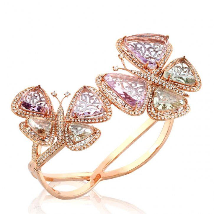 Bangle belongs to the latest collection Flying Butterfly, made of 18K pink gold, diamond, pink and green amethys, handcrafted with flat cut semi-precious stone by E Jewellery