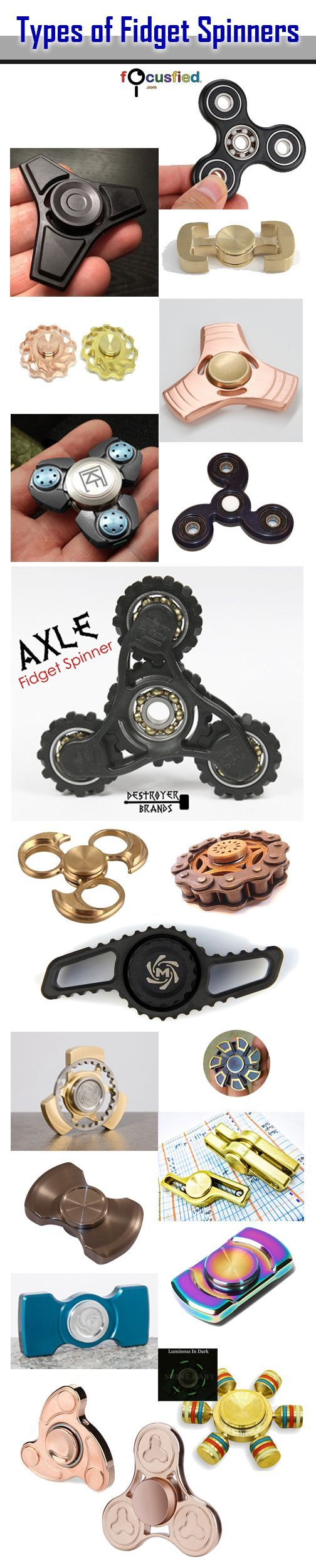 Here is one of the more comprehensive list of fidget spinners in the market today. Fidget toys are all the rage for those of us ADHD, ADD hyper people.