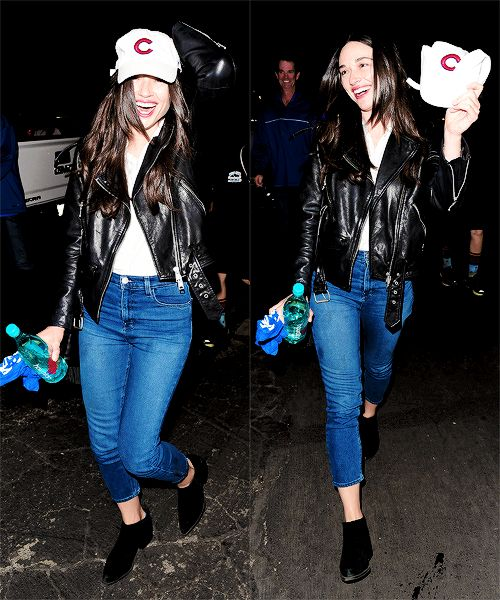 Crystal Reed Leaving the Dodgers Game in Los Angeles, California on October, 19th