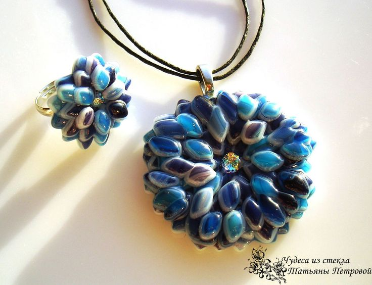 """Комплект """"Васильки"""", фьюзинг - синий,васильки,голубой,василек,цветок,цветочный кулон"""