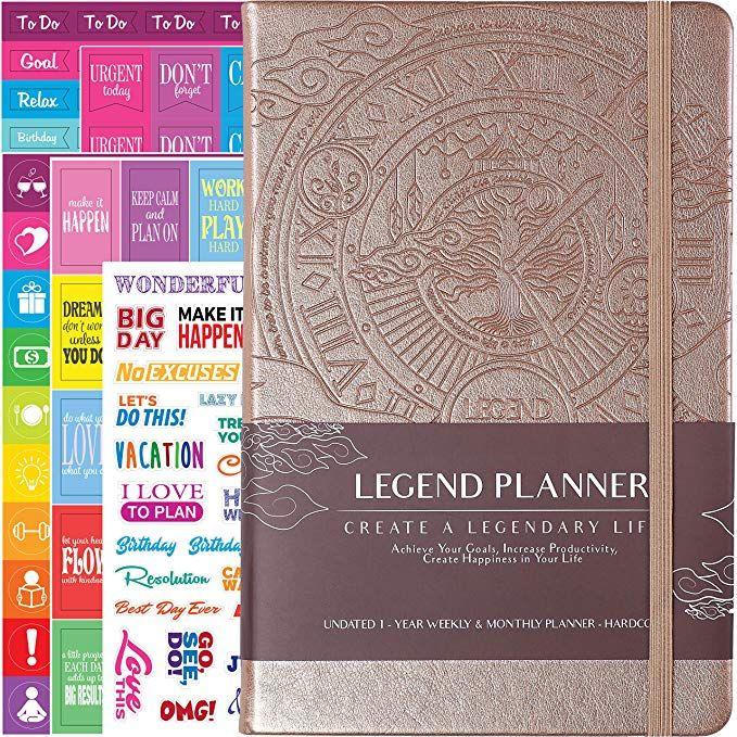 A5 Hardcover Black Organizer Notebook & Productivity Journal ...