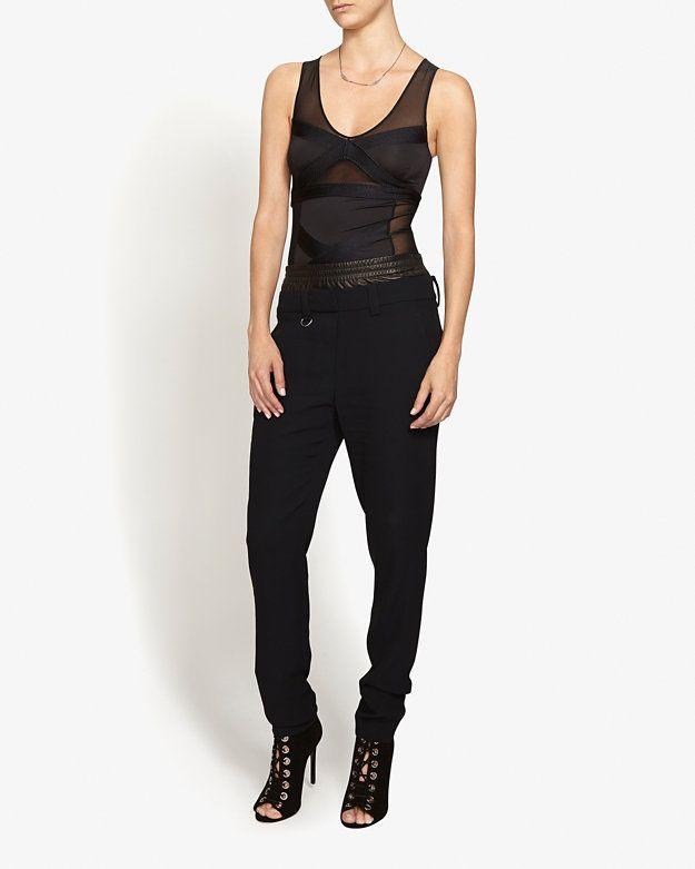 Boyfriend/track pant bottoms fit with defined waist tuck. A.L.C. Elliot Leather Waist Boxer Pant | Shop IntermixOnline.com
