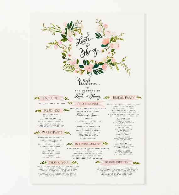 24x34 Wedding Program | Floral Crest With Pink & Blush Accents