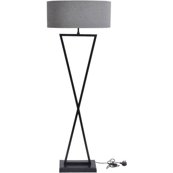 Wardour Black Floor Lamp with Grey Shade ($400)  liked on Polyvore  featuring home