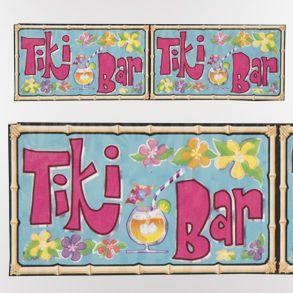 """Tiki Bar Metallic Fringe Banner   14"""""""" x 4'"""