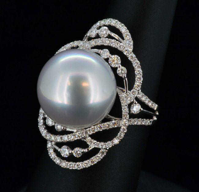18K Gold, South Sea Pearl & 1.21CT Diamond Ring.