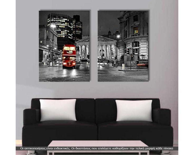 London bus,  δίπτυχος  πίνακας σε καμβά (multipanel)