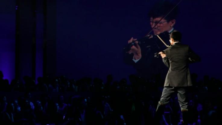 Violinist Zhang Luyi at Swarovski's Sparkling Secrets opening night!