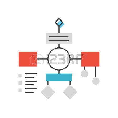 algorithm: 순서도 계획과 조직, 워크 플로우 마인드 맵, 추상적 인 프로젝트 분석, PDCA 프로세스 알고리즘의 평면 디자인 요소와 얇은 선 아이콘입니다. 현대적인 스타일의 로고