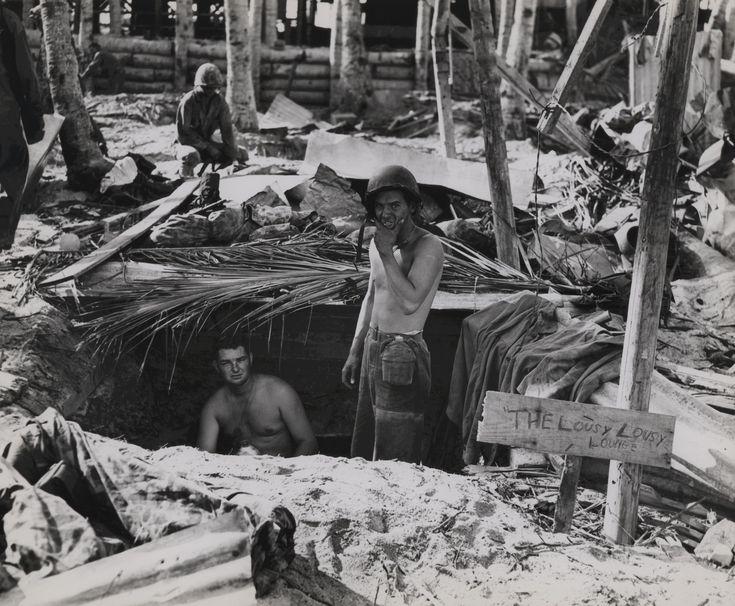 American base at Tarawa, Gilbert Islands, Nov 1943; note sign 'The Lousy Lousy Lounge'