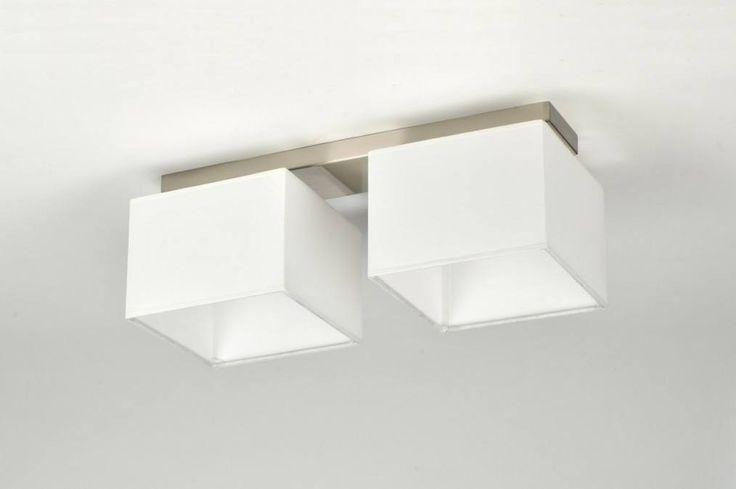 Plafondlamp 71213: Modern, Eigentijds Klassiek, Wit, Staal Rvs