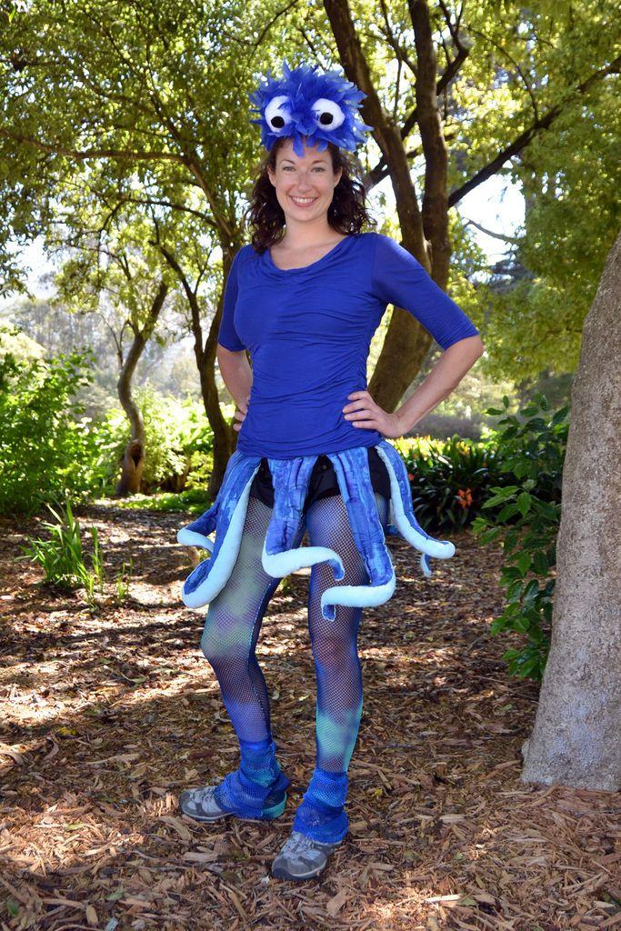Blauw octopus kostuum