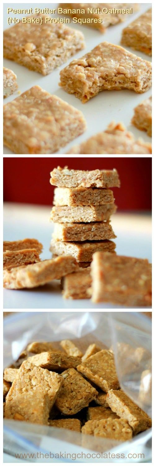 3 Ingredient Peanut Butter Banana Nut Oatmeal {No Bake} Protein Squares via @https://www.pinterest.com/BaknChocolaTess/