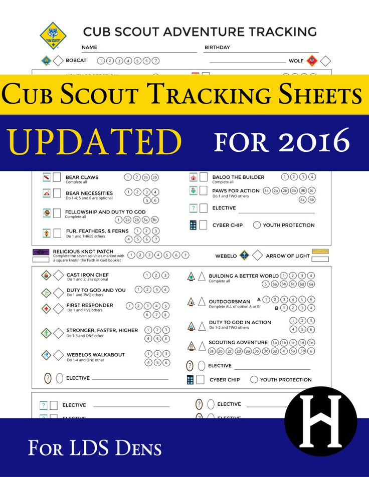 Tracking Sheets for LDS Cubs. Now updated with Dec 2016 changes!