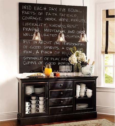 Paint canvases with chalkboard paint: Dining Rooms, Buffet, Decor Ideas, Chalkboardpaint, Quote, Chalkboards Paintings, Chalk Boards, Pottery Barns, Chalkboards Wall